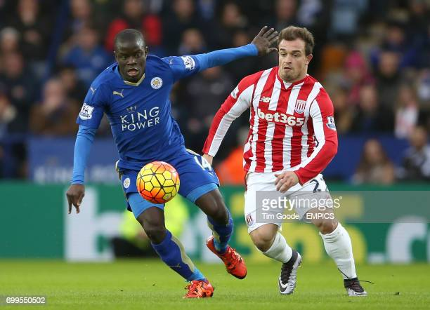 Leicester City's N'Golo Kante and Stoke City's Xherdan Shaqiri battle for the ball