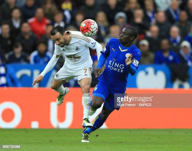 Leicester City's N'Golo Kante and Swansea City's Leon Britton battle for the ball