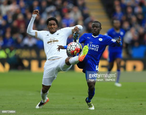 Leicester City's N'Golo Kante and Swansea City's Leroy Fer battle for the ball