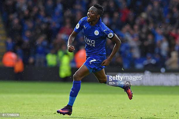 Leicester City's Nigerian midfielder Ahmed Musa celebrates after scoring the opening goal of the English Premier League football match between...