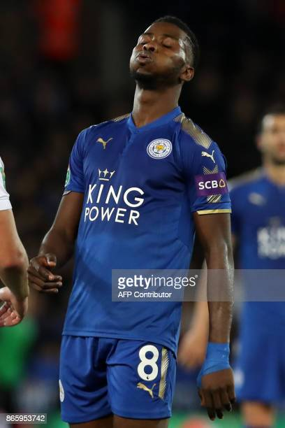 Leicester City's Nigerian striker Kelechi Iheanacho recats after missing a chance during the English League Cup fourth round football match between...