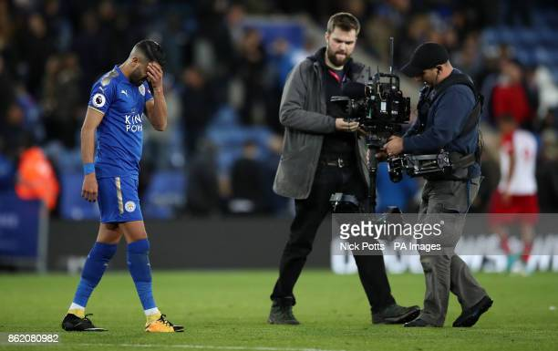 Leicester City's Riyad Mahrez after the Premier League match at the King Power Stadium Leicester