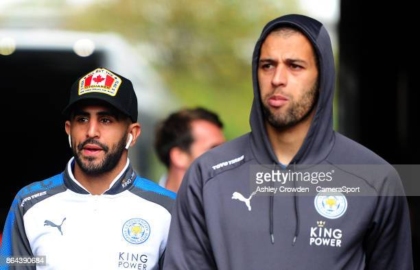 Leicester City's Riyad Mahrez and Islam Slimani arrive at the liberty stadium during the Premier League match between Swansea City and Leicester City...