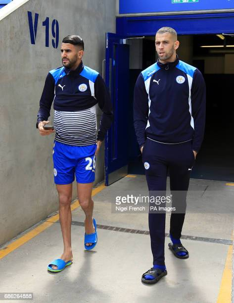 Leicester City's Riyad Mahrez and Islam Slimani arrive for the Premier League match at the King Power Stadium Leicester