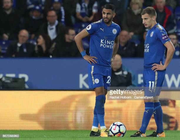 Leicester City's Riyad Mahrez and Leicester City's Marc Albrighton during the Premier League match between Leicester City and West Bromwich Albion at...