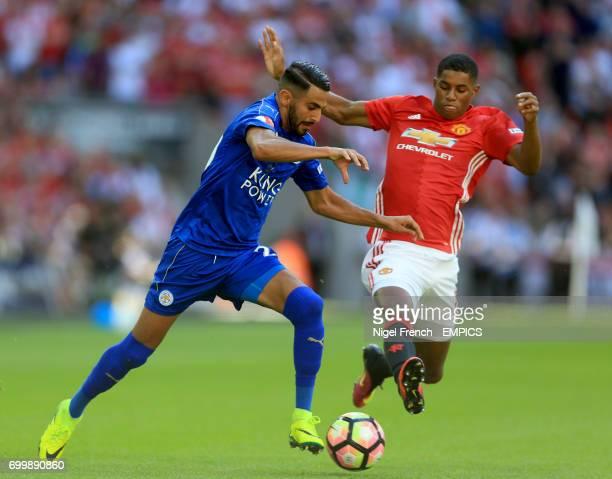 Leicester City's Riyad Mahrez and Marcus Rashford