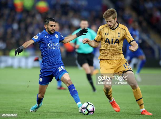 Leicester City's Riyad Mahrez and Tottenham Hotspur's Eric Dier battle for the ball during the Premier League match at the King Power Stadium...