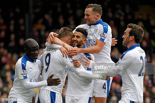 Leicester City's Riyad Mahrez celebrates after scoring his team's first goal during the English Premier League football match between Crystal Palace...