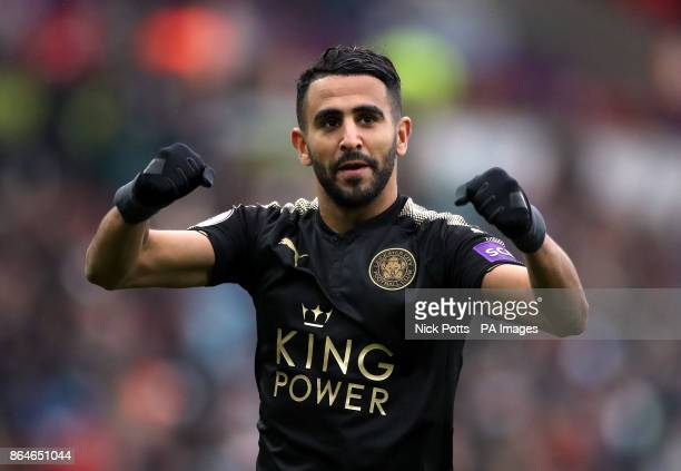 Leicester City's Riyad Mahrez celebrates after the Premier League match at the Liberty Stadium Swansea