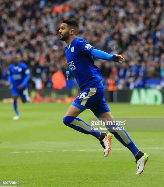 Leicester City's Riyad Mahrez celebrates scoring his side's first goal of the game against Swansea City