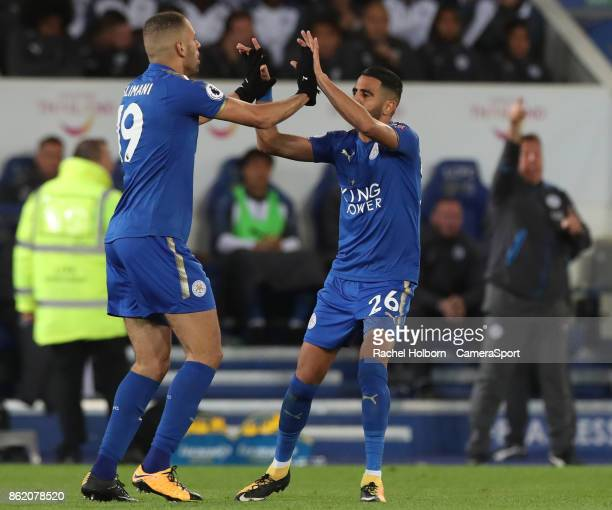 Leicester City's Riyad Mahrez celebrates scoring his side's first goal during the Premier League match between Leicester City and West Bromwich...