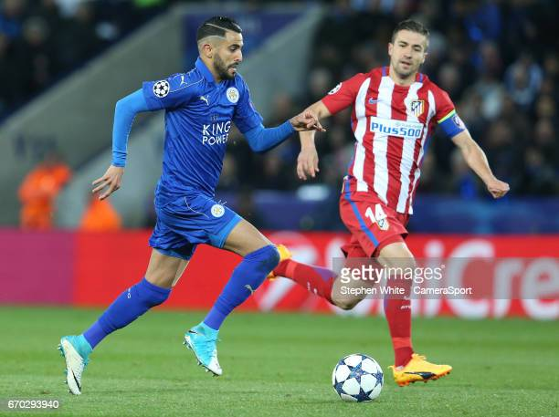 Leicester City's Riyad Mahrez chased by Atletico Madrid's Gabi during the UEFA Champions League Quarter Final second leg match between Leicester City...