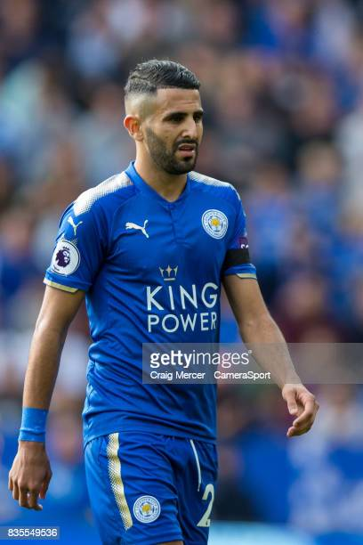 Leicester City's Riyad Mahrez during the Premier League match between Leicester City and Brighton and Hove Albion at The King Power Stadium on August...