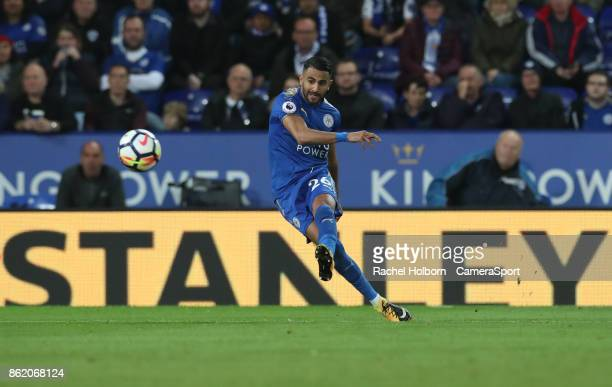 Leicester City's Riyad Mahrez during the Premier League match between Leicester City and West Bromwich Albion at The King Power Stadium on October 16...