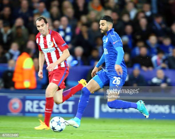 Leicester City's Riyad Mahrez during UEFA Champions League QuarterFinals match between Leicester City and Atletico Madrid at King Power Stadium...
