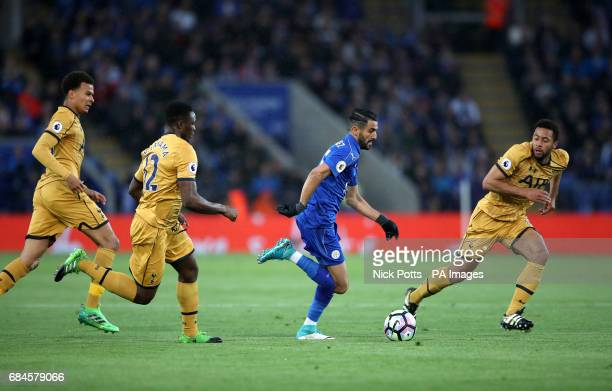 Leicester City's Riyad Mahrez is chased down by Tottenham Hotspur's Victor Wanyama during the Premier League match at the King Power Stadium Leicester