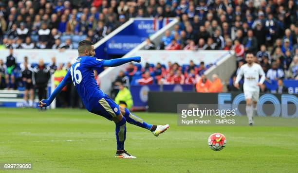 Leicester City's Riyad Mahrez scores his side's first goal of the game against Swansea City