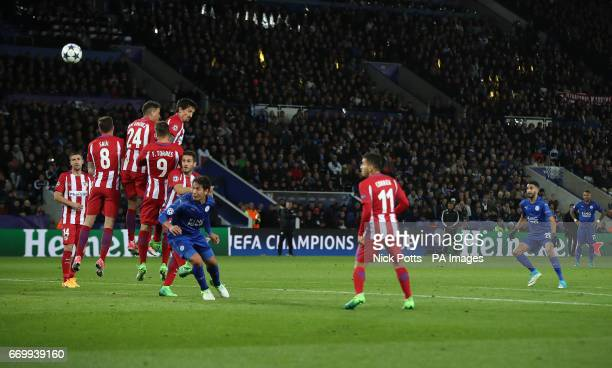 Leicester City's Riyad Mahrez takes a free kick during the second leg of the UEFA Champions League quarter final match at the King Power Stadium...