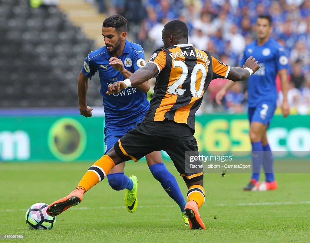Leicester City's Riyad Mahrez takes on Hull City's Adama Diomande during todays game during the Premier League match between Hull City and Leicester City at the KCOM Stadium on August 13 in Hull, England.