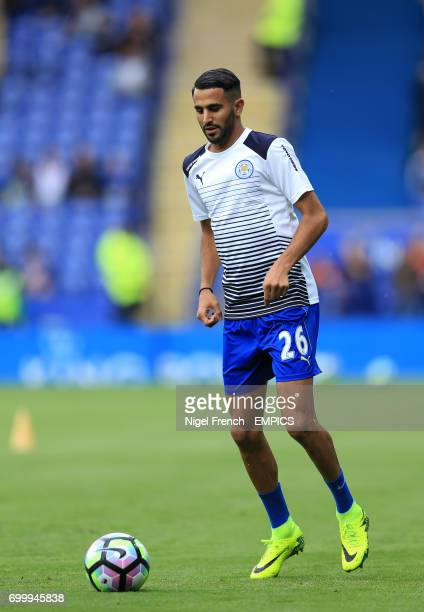 Leicester City's Riyad Mahrez warms up prior to the match