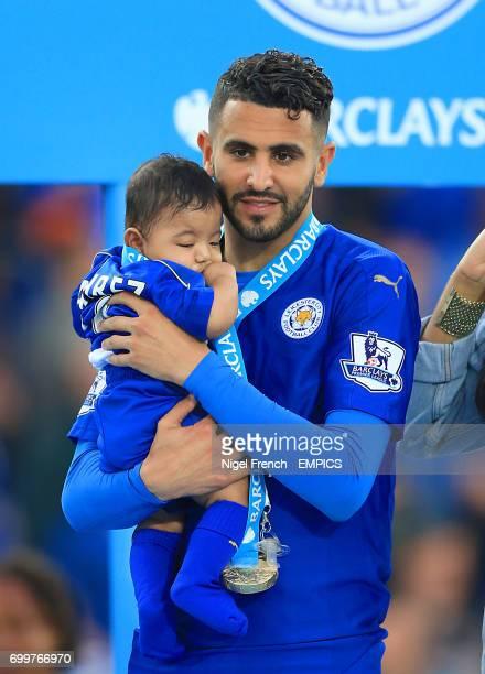 Leicester City's Riyad Mahrez with family