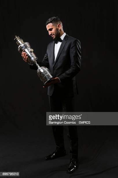 Leicester City's Riyad Mahrez with his PFA Player of the year award during the 2016 PFA Awards at the Grosvenor House Hotel London