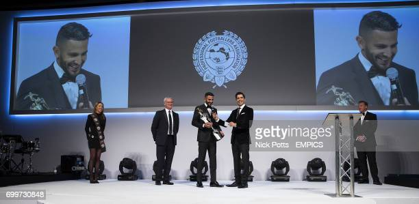 Leicester City's Riyad Mahrez with the award for PFA Player of the Year 2016 during the PFA Awards at the Grosvenor House Hotel London