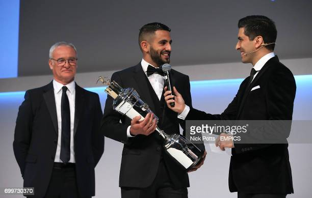 Leicester City's Riyad Mahrez with the PFA Player of the Year Award 2016 presented by Leicester City manager Claudio Ranieri and host Manish Bhasil...