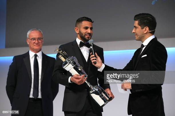 Leicester City's Riyad Mahrez with the PFA Player of the Year Award 2016 presented by Leicester City manager Claudio Ranieri and host Manish Bhasi...