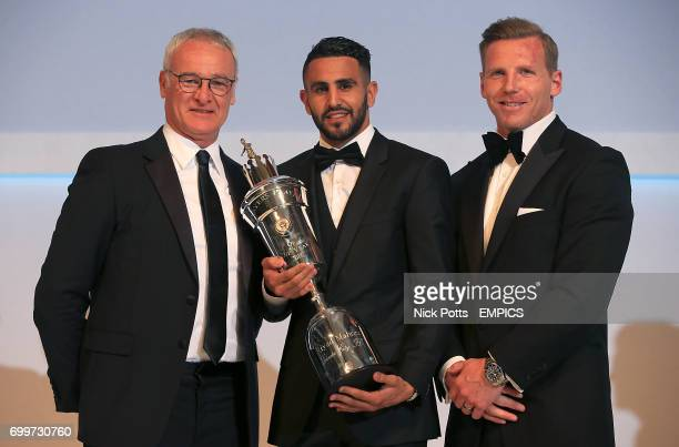 Leicester City's Riyad Mahrez with the PFA Player of the Year award 2016 presented by Leicester City manager Claudio Ranieri and and PFA Chairman...