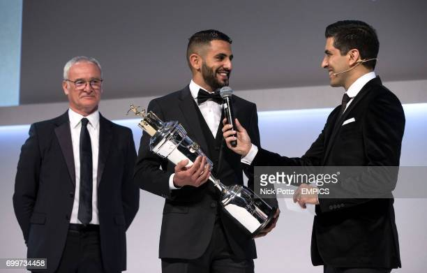 Leicester City's Riyad Mahrez with the PFA Player of the Year Award 2016 presented by Leicester City manager Claudio Ranieri and host Manish Bhasin