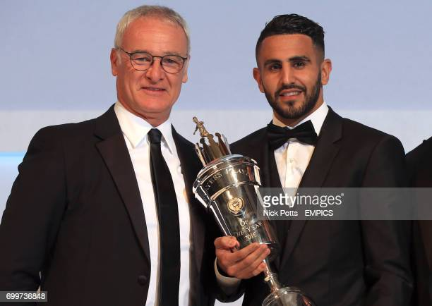 Leicester City's Riyad Mahrez with the PFA Player of the Year award 2016 presented by Leicester City manager Claudio Ranieri
