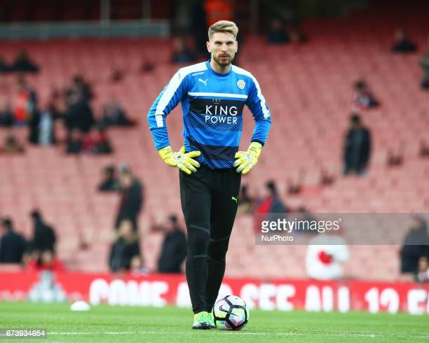 Leicester City's RonRobert Zieler during the prematch warmup during the Premier League match between Arsenal and Leicester City at Emirates stadium...