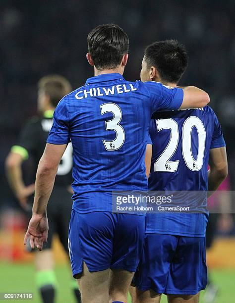 Leicester City's Shinji Okazaki and Leicester City's Ben Chilwell celebrates the first goal during the EFL Cup Third round match between Leicester...