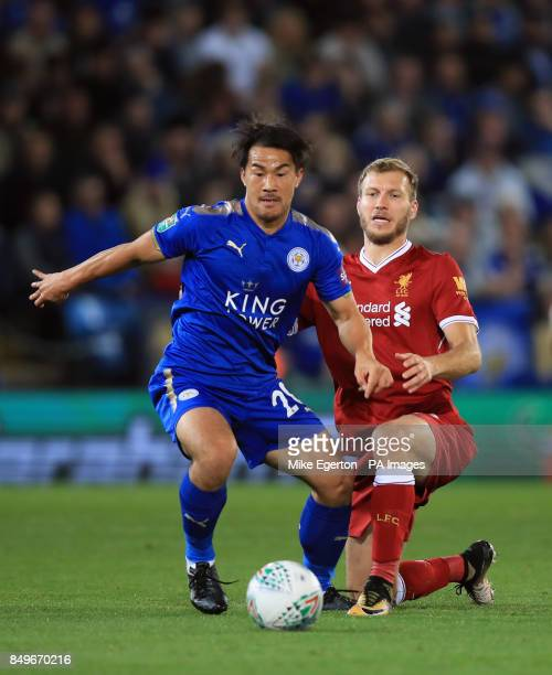 Leicester City's Shinji Okazaki and Liverpool's Ragnar Klavan battle for the ball during the Carabao Cup third round match at the King Power Stadium...