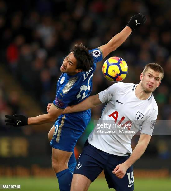 Leicester City's Shinji Okazaki and Tottenham Hotspur's Eric Dier battle for the ball during the Premier League match at the King Power Stadium...