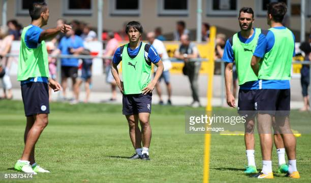 Leicester City's Shinji Okazaki gets instruction from Leo Ulloa during the Leicester City PreSeason tour of Austria at Velden Training Facility on...