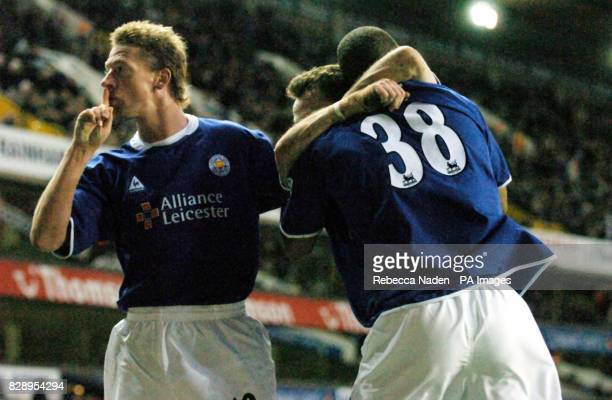 Leicester City's Steffen Freund celebrates his team's fourth goal against Tottenham Hotspur with Marcus Bent during the Barclaycard Premiership match...