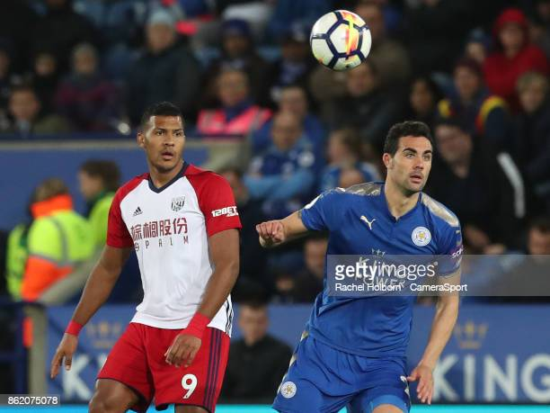 Leicester City's Vicente Iborra and West Bromwich Albion's Jose Salomon Rondon during the Premier League match between Leicester City and West...