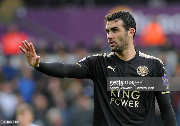 Leicester City's Vicente Iborra during the Premier League match between Swansea City and Leicester City at Liberty Stadium on October 21 2017 in...