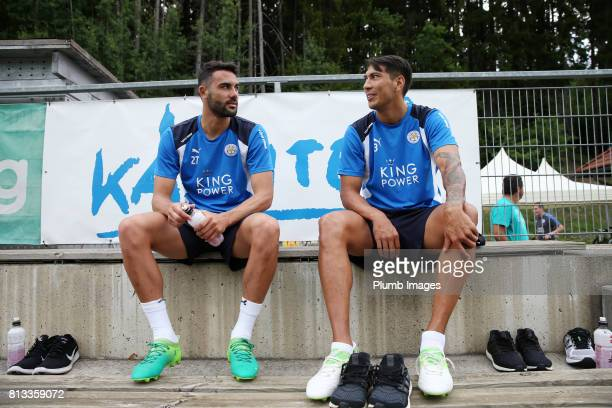 Leicester City's Vicente Ilborra talks to Leo Ulloa during the Leicester City PreSeason tour of Austria at Velden Training Facility on July 11th 2017...