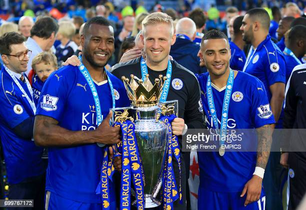 Leicester City's Wes Morgan Leicester City goalkeeper Kasper Schmeichel and Leicester City's Danny Simpson pose with the Barclays Premier League...