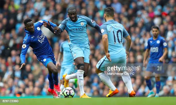 Leicester City's Wilfred Ndidi and Manchester City's Yaya Toure battle for the ball