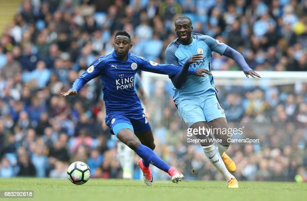 Leicester City's Wilfred Ndidi and Manchester City's Yaya Toure during the Premier League match between Manchester City and Leicester City at Etihad...