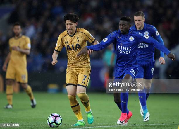 Leicester City's Wilfred Ndidi and Tottenham Hotspur's Son HeungMin battle for the ball during the Premier League match at the King Power Stadium...