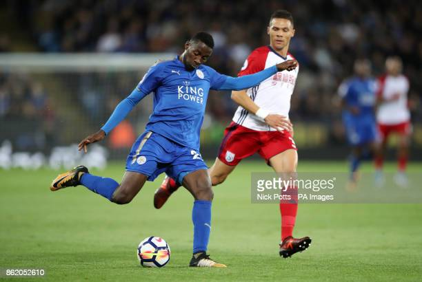 Leicester City's Wilfred Ndidi crosses during the Premier League match at the King Power Stadium Leicester