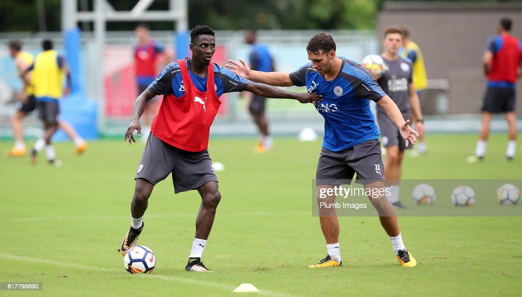 Leicester City's Wilfred Ndidi holds off Matty James trains in the Hong Kong heat ahead of the Premier League Asia Trophy on July 18th , 2017 in Hong Kong, Hong Kong.
