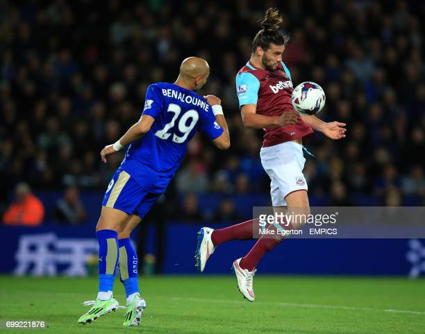 Leicester City's Yohan Benalouane and West Ham United's Andy Carroll