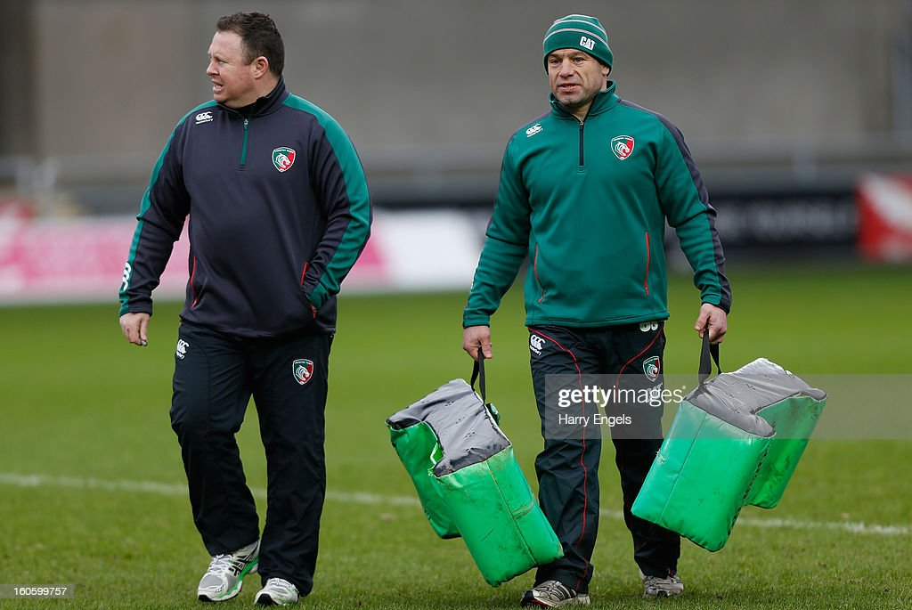 Leicester director of rugby <a gi-track='captionPersonalityLinkClicked' href=/galleries/search?phrase=Richard+Cockerill&family=editorial&specificpeople=609259 ng-click='$event.stopPropagation()'>Richard Cockerill</a> (R) and head coach Matt O'Connor (L) walk off the pitch prior to the LV= Cup match between Scarlets and Leicester Tigers at Parc y Scarlets on February 3, 2013 in Llanelli, Wales.