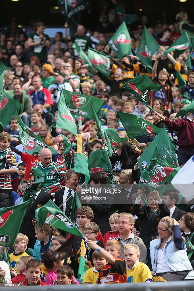 Leicester fans celebrate during the Aviva Premiership Final between Leicester Tigers and Northampton Saints at Twickenham Stadium on May 25, 2013 in London, England.